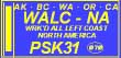 To qualify for the WALC-NA, work Alaska, British Columbia, Washington, Oregon and California on PSK31, one contact required in each state/province for a total of 5 contacts.  Valid contacts after 16 March 2009, 160 thru 6m only.