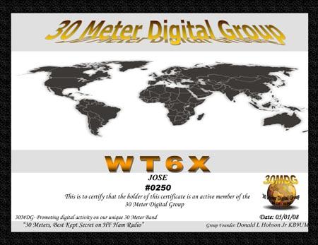 WT6X 30 MDG Cert #0250