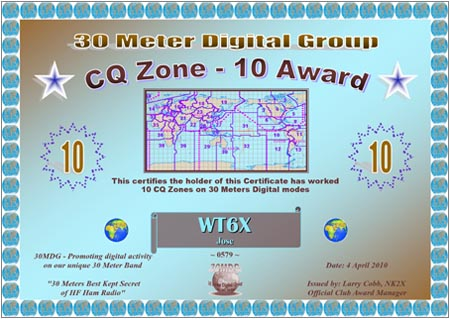 WT6X30MDG CQZ 10 Certificate