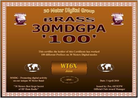 WT6X 30MDG PA 100 Certificate