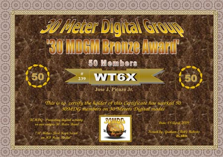 30MDGM Bronze worked 50 unique members on 30 Meters Digital Modes