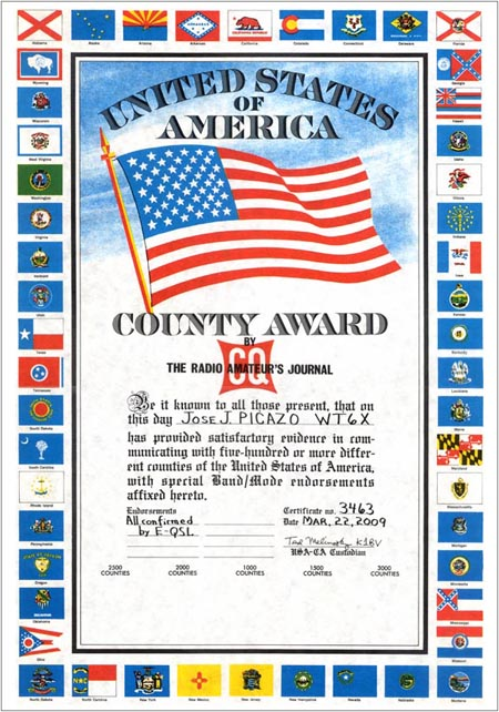 The USA-CA Awards - The United States of America Counties (USA-CA) Award, sponsored by CQ magazine, is issued for confirmed two-way radio contacts with specified numbers of U.S. counties.