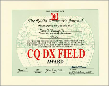 The CQ DX Field Award is issued in four categories—Mixed, CW, SSB, and Digital—for confirmed two-way contacts with 50 or more Grid Fields, based on the Maidenhead grid system.