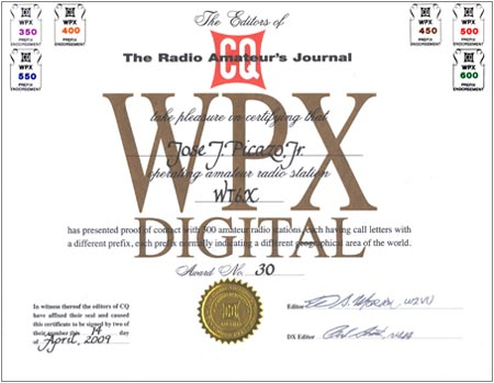 The CQ WPX Award recognizes the accomplishments of confirmed QSOs with the many prefixes used by amateurs throughout the world. Separate, distinctively marked certificates are available for SSB, CW, Digital (RTTY/PSK) and Mixed (CW, SSB/Phone, Digital).