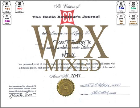 The CQ WPX Award recognizes the accomplishments of confirmed QSOs with the many prefixes used by amateurs throughout the world. Separate, distinctively marked certificate available for Mixed (CW, SSB/Phone, Digital).