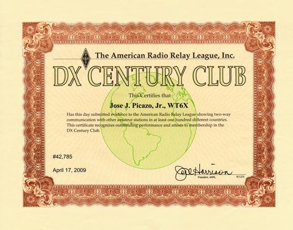 ARRL DXCC MIXED WT6X