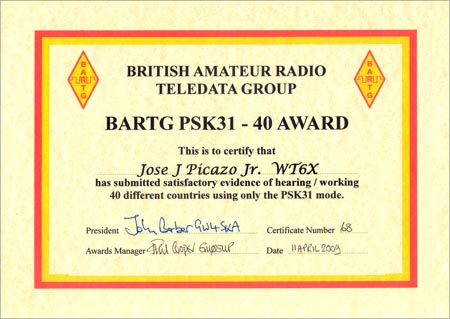 This award is available to licensed amateurs on the submission of satisfactory proof of having worked 40 different countries using only the PSK31 mode.