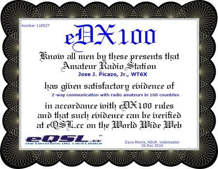 WT6X eDX100 Certificate