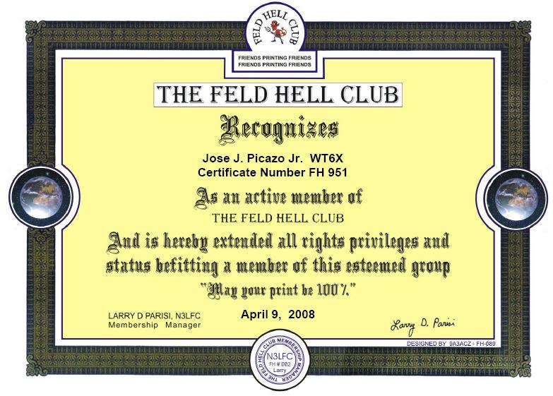 Feld Hell Cert WT6X