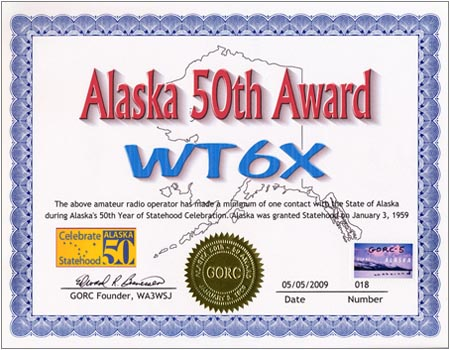 Alaska 50th Award. To receive this award an amateur radio operator has to have 50 QSOs with a ham operating in The State of Alaska anytime during the year of 2009.