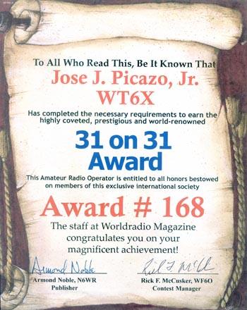 31 on 31 Award